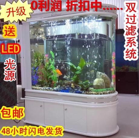 包邮0.8-2米生态水族箱 子弹头鱼缸 隔断玄关屏风可定制
