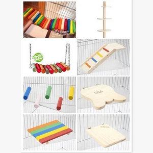 木质龙猫松鼠跳台秋千扇形跳板踏板木屋玩具磨牙用品 搭配龙猫笼